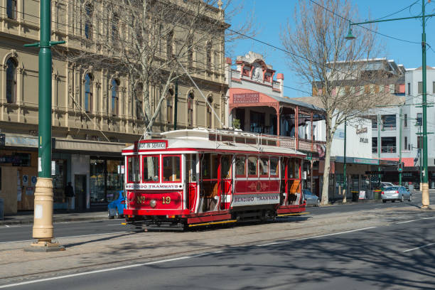 Australian Heritage Historical Trams Old Victorian Public Transport in the street, Famous Tourist Attraction of Bendigo City stock photo