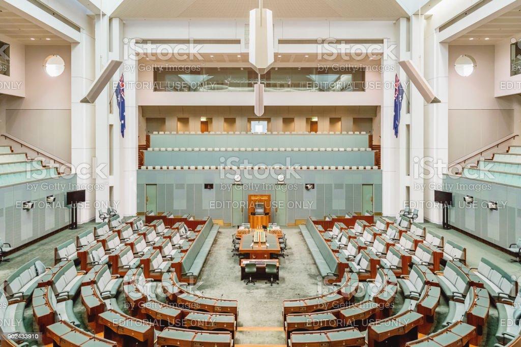 Australian House of Representatives Inside Australian Parliament House Canberra stock photo