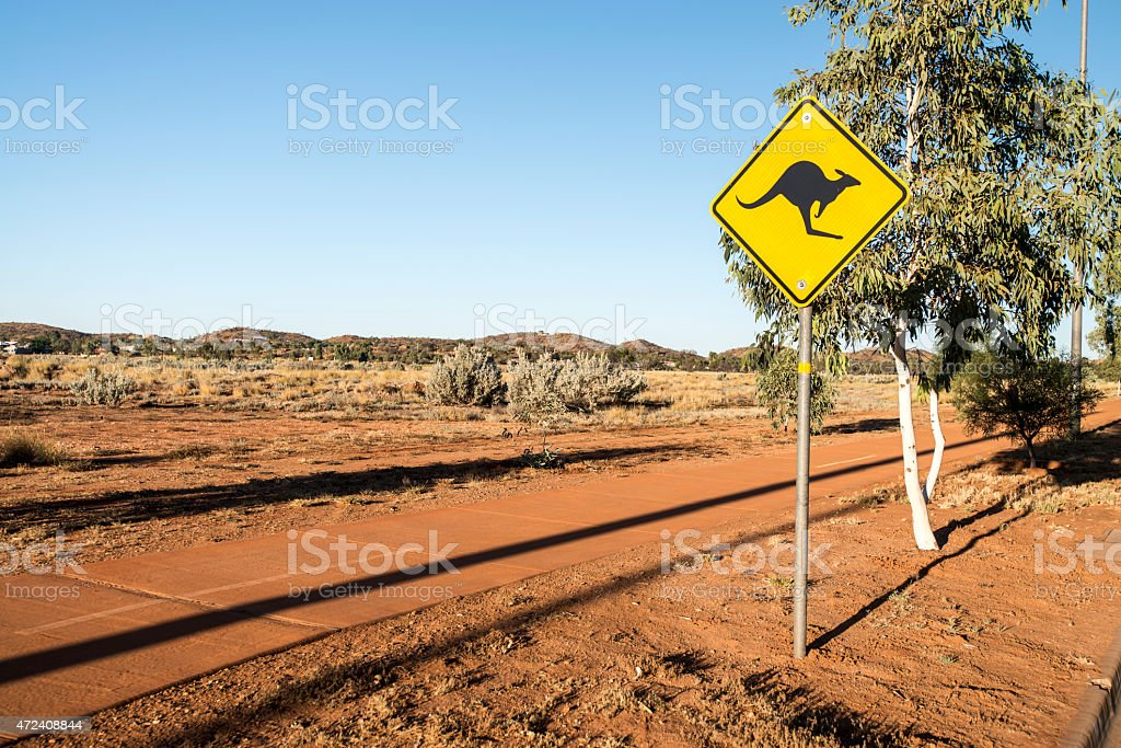 Australian Kangaroo Sign (Alice Springs) stock photo