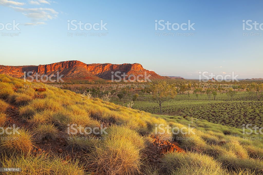 Australian landscape in Purnululu National Park, Western Australia at sunset stock photo