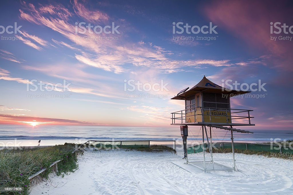 australian lifeguard hut at sunrise in gold coast stock photo