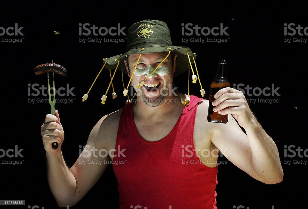 Australian Man at a BBQ royalty-free stock photo