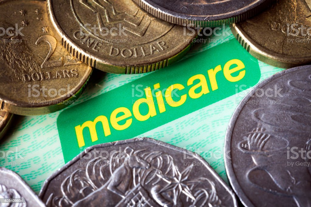 Australian Medicare Card and Money stock photo