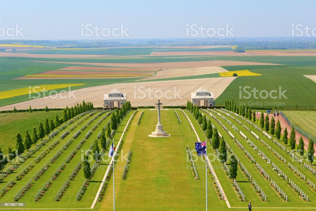 australian military cemetery at villers bretonneux in picardy, france stock photo