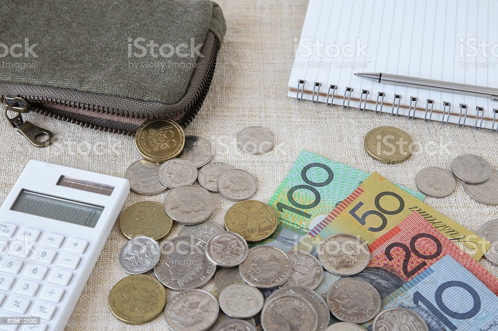 Australian money, AUD with calculator, notebook and small money stock photo
