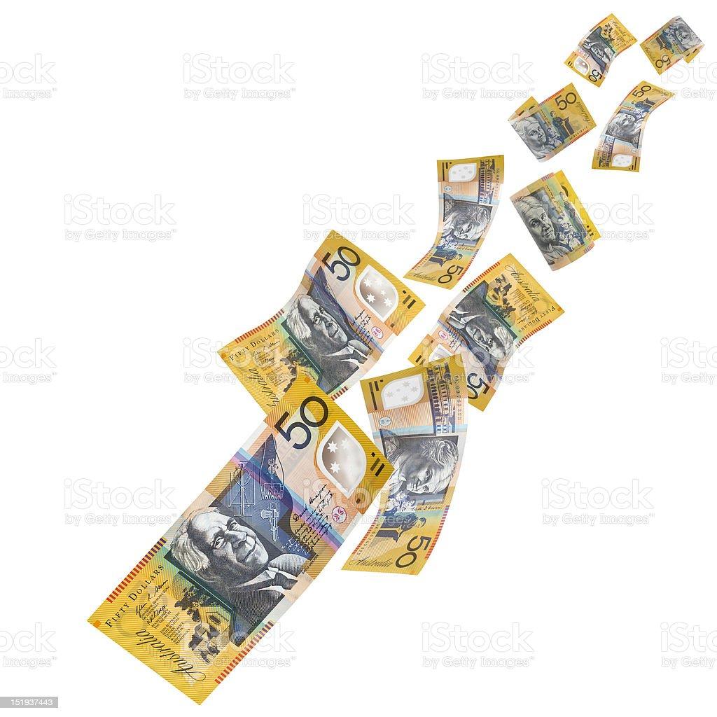 Australian Money Falling stock photo