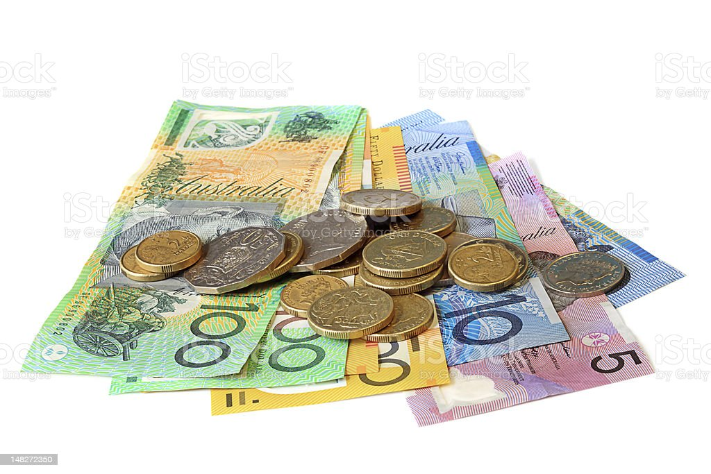 Australian Money Notes and Coins on White Background stock photo
