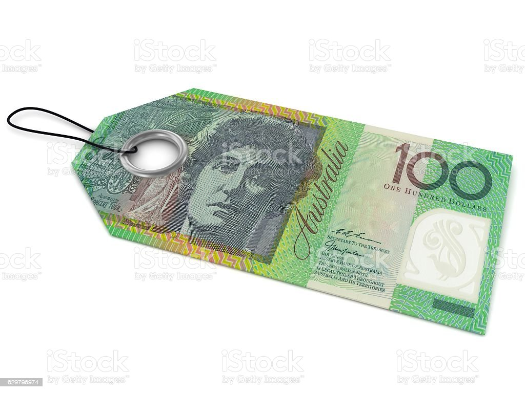 Australian money price tag concept stock photo