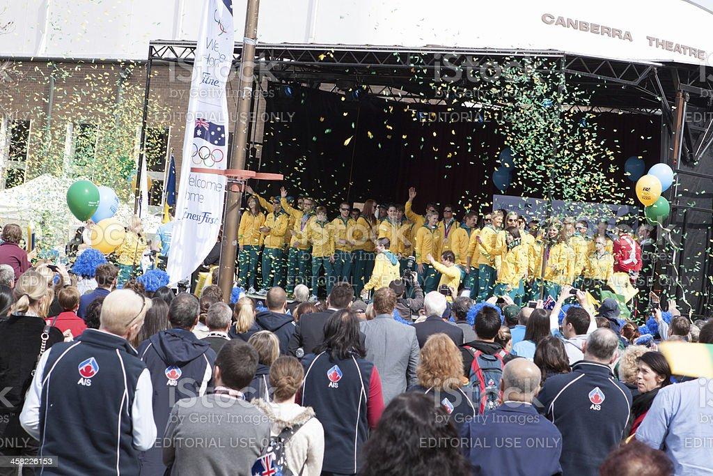 Australian Olympians public Canberra Homecoming royalty-free stock photo