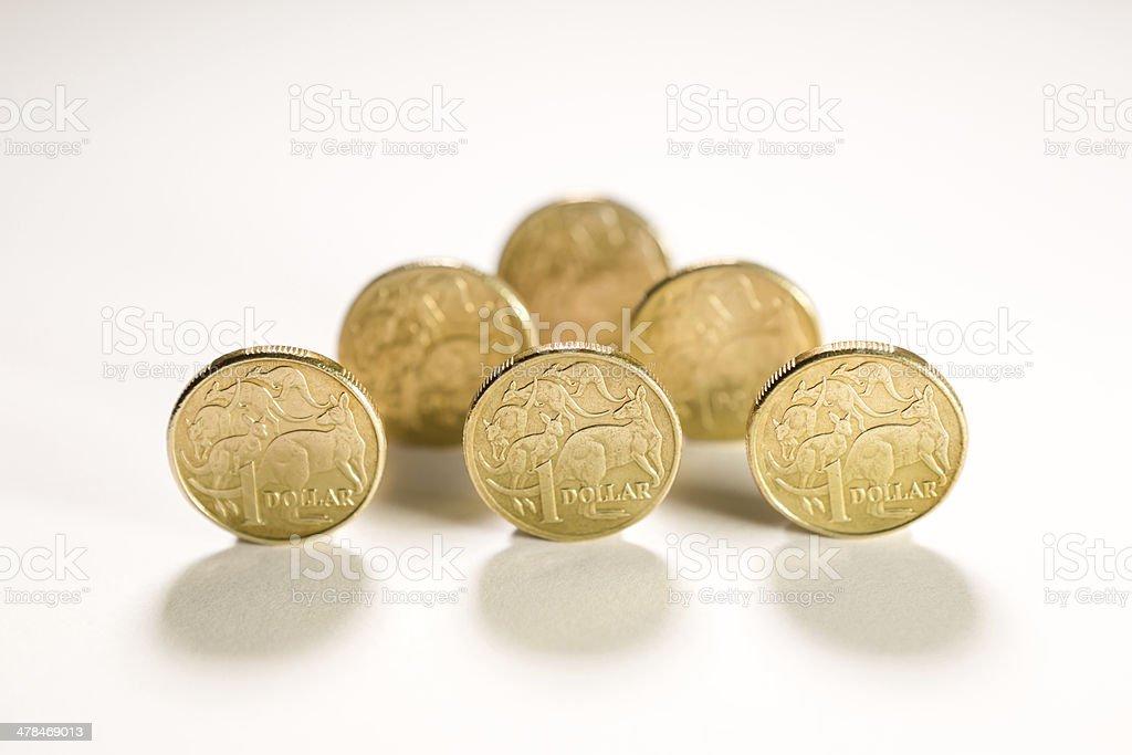 Australian one dollar coins royalty-free stock photo