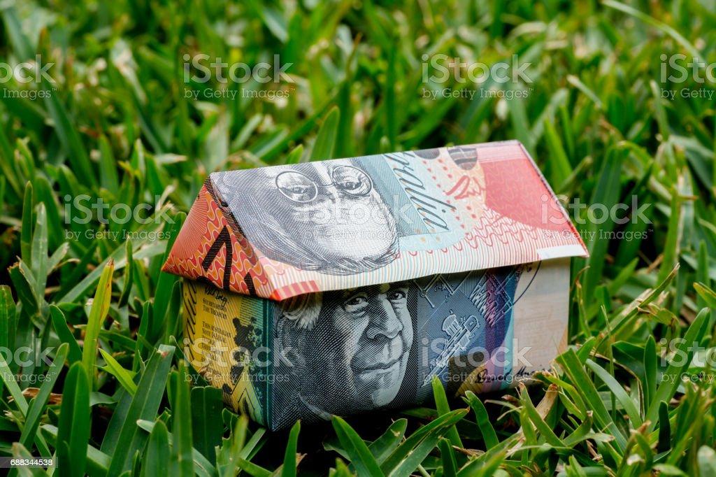 Australian Origami Money House stock photo