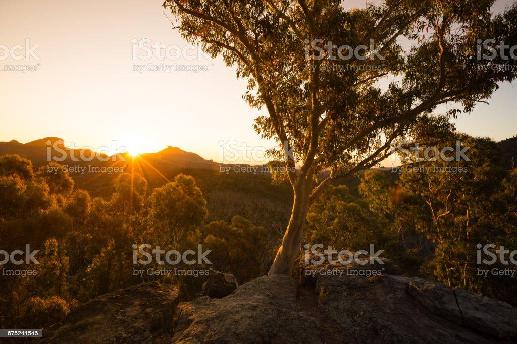 Australian Outback Burnt Orange Country Sunset stock photo