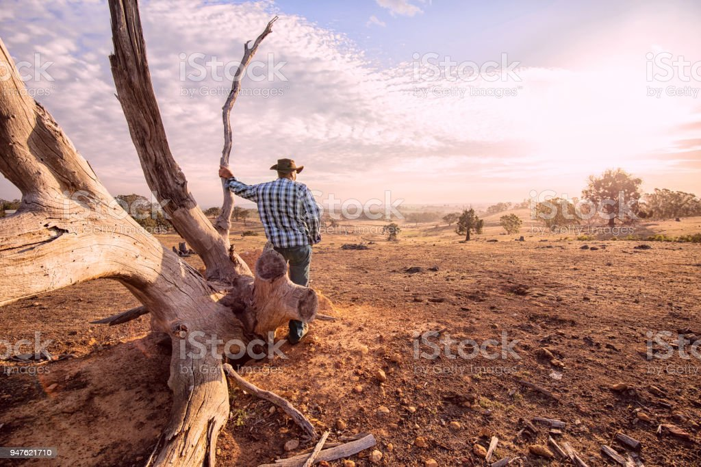 Australian Outback Farmer stock photo
