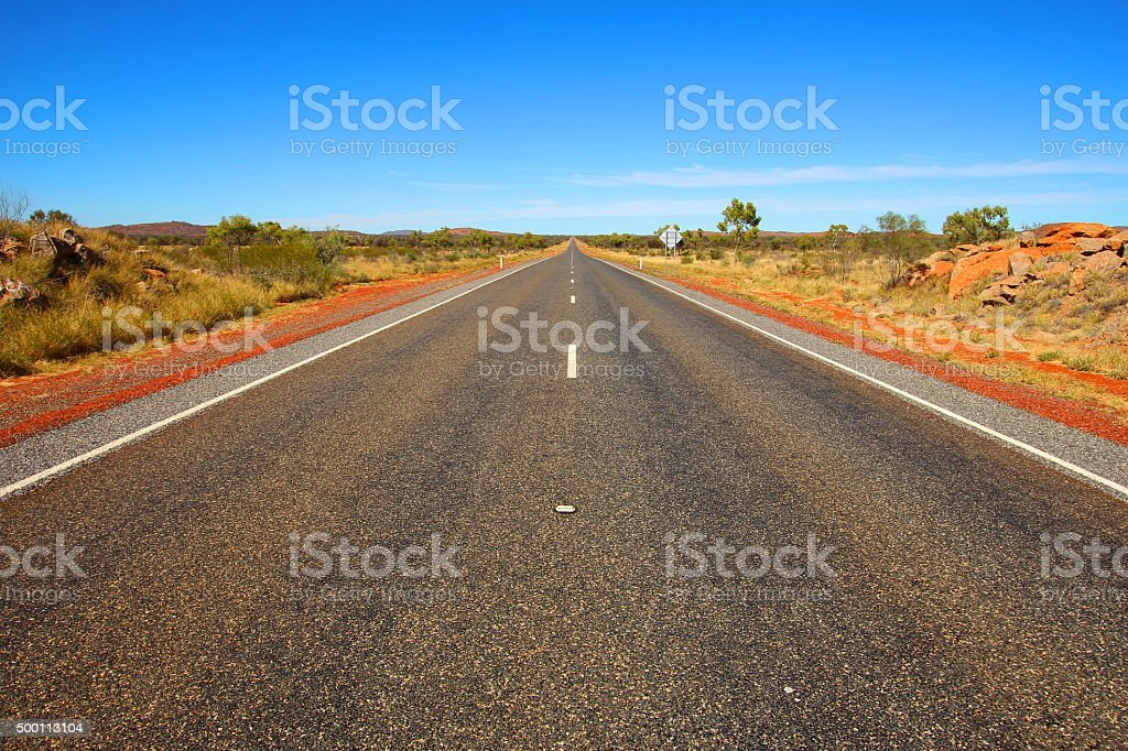 Australian outback highway stock photo