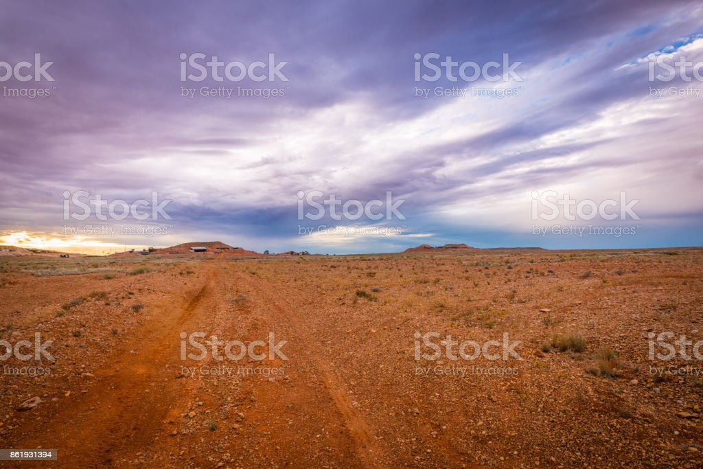 Australian Outback Landscape Dirt road track in Coober Pedy, South Australia stock photo