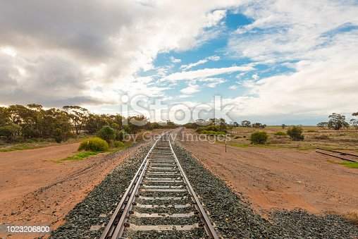 Australian outback landscape with railway tracks in remote area near Mallee Highway