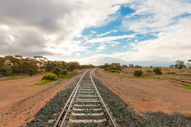 Australian outback landscape with railway tracks in remote area near Mallee Highway stock photo