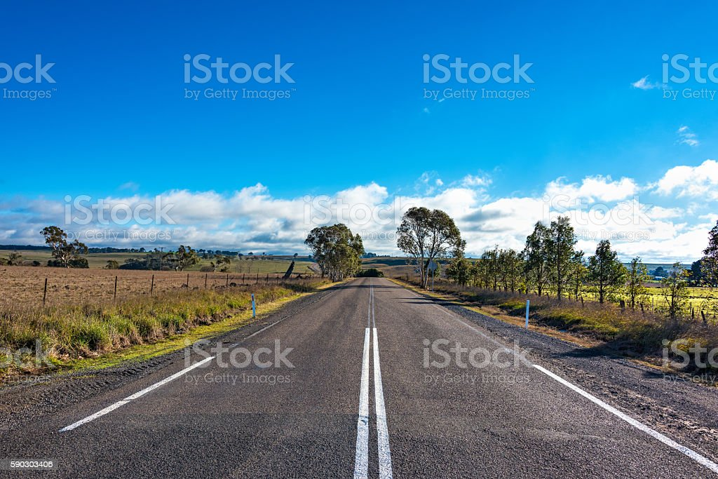 Australian outback road. Rural road on sunny day stock photo