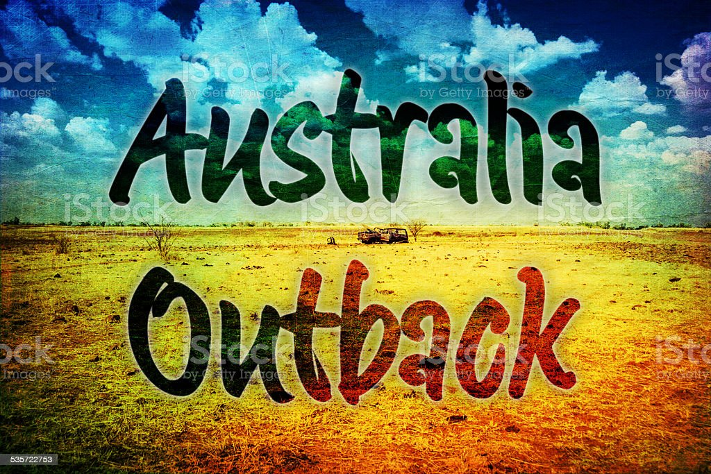 Australian Outback vintage postcard stock photo