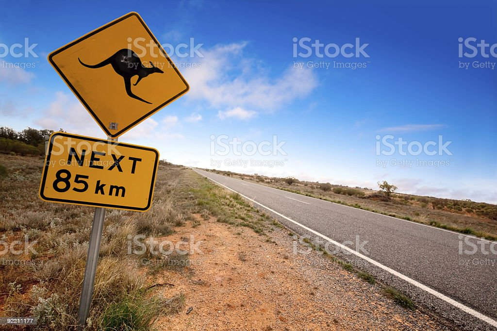 Australian outback with kangaroo sign stock photo