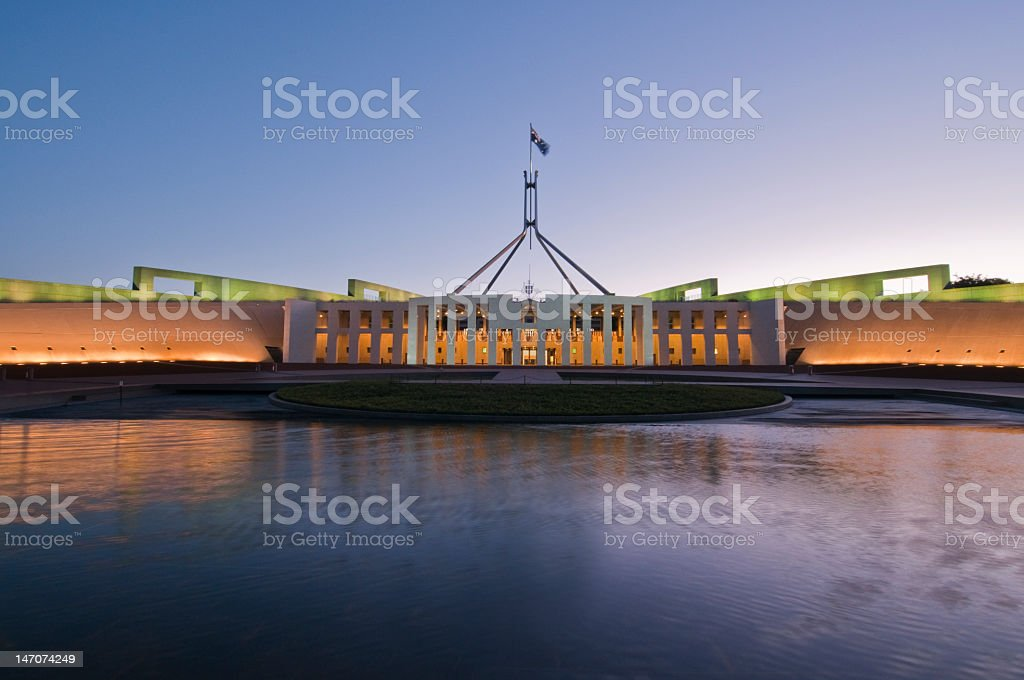 Australian Parliament House, Canberra, ACT illuminated at dusk royalty-free stock photo