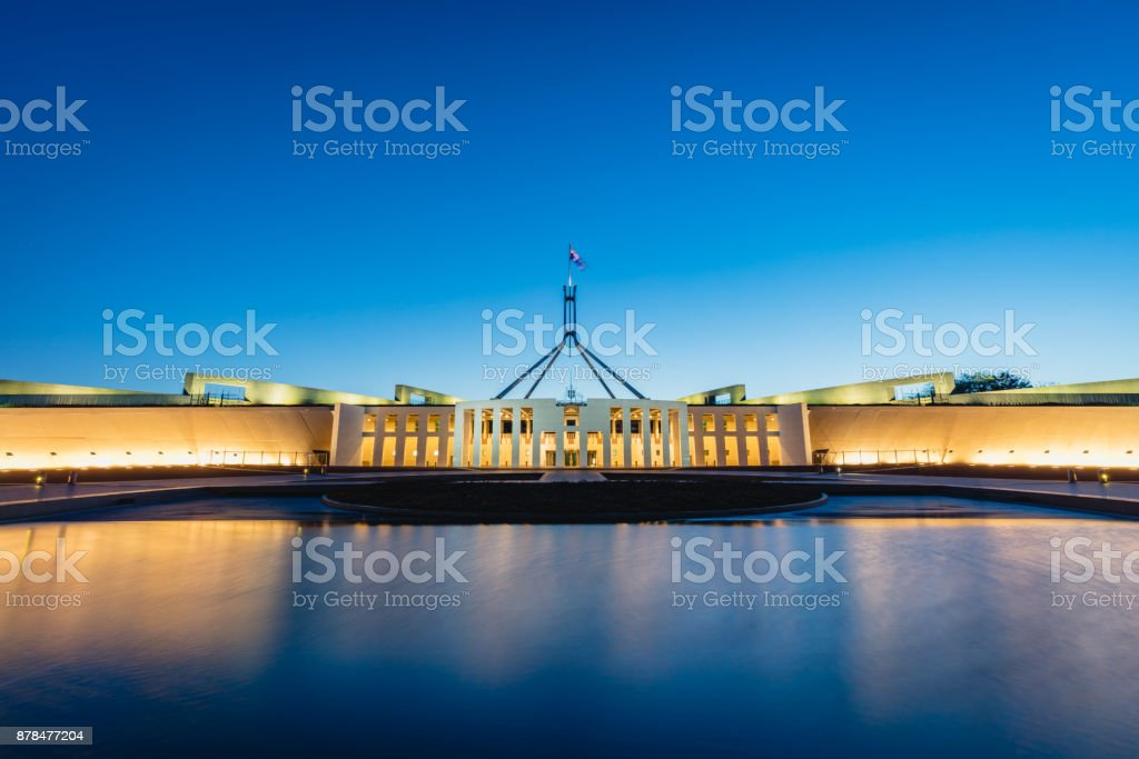 Australian Parliament House Canberra at Night stock photo