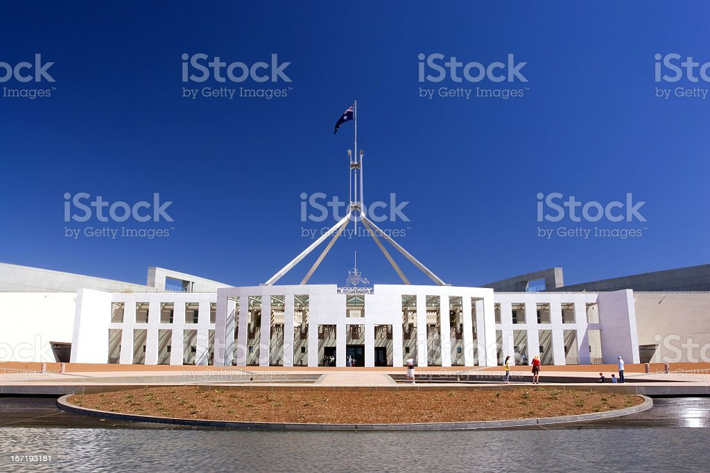 Australian Parliament House panorama view stock photo