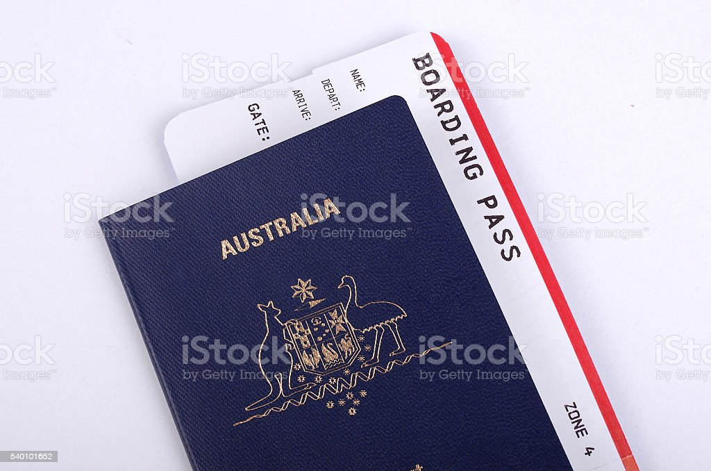 Passeport australien avec International d'impression des cartes d'embarquement - Photo