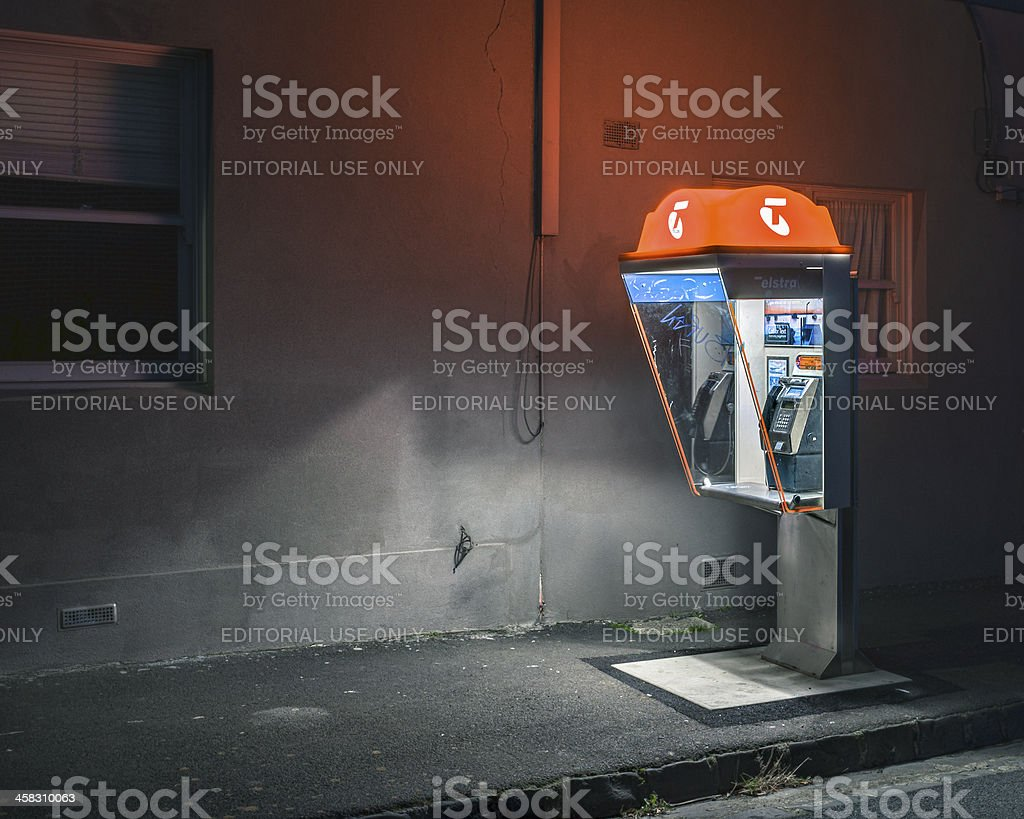 Australian Phone Booth at Night stock photo