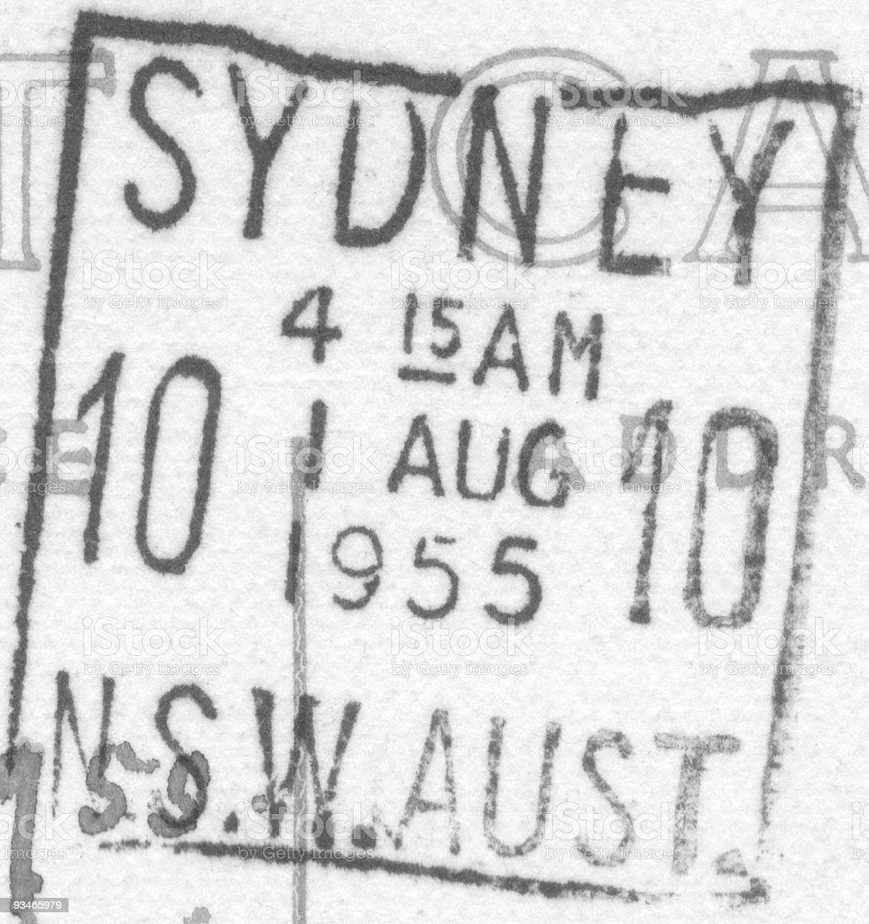 Australian postmark franked Sydney 1955 royalty-free stock photo