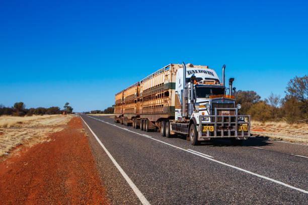 Australian Road Train in Northern Territory stock photo