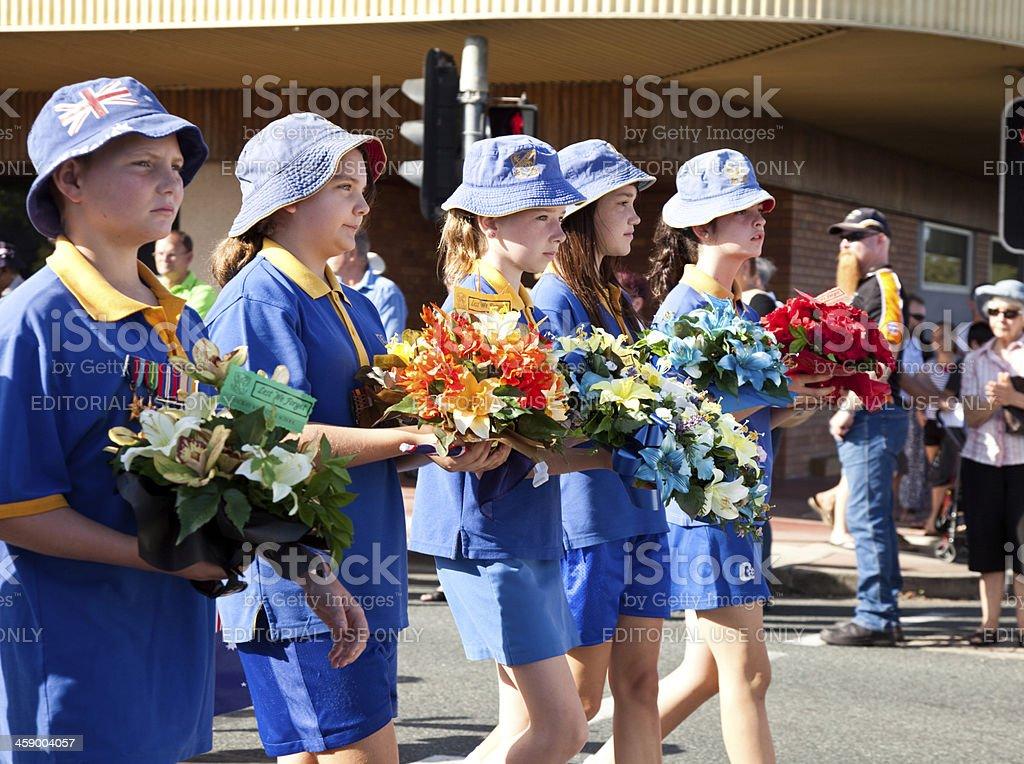 Australian School Children Marching on Anzac Day royalty-free stock photo