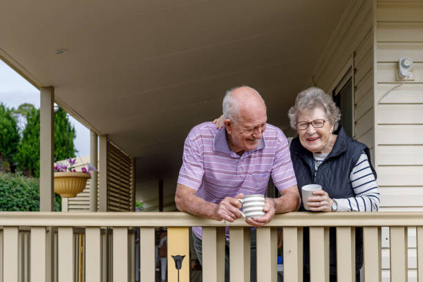 Australian Senior Citizen Couple Living Independently At Own Home stock photo