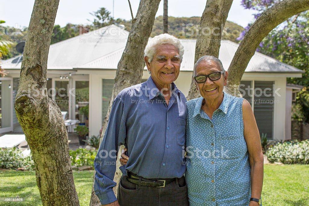 Australian seniors in their garden stock photo