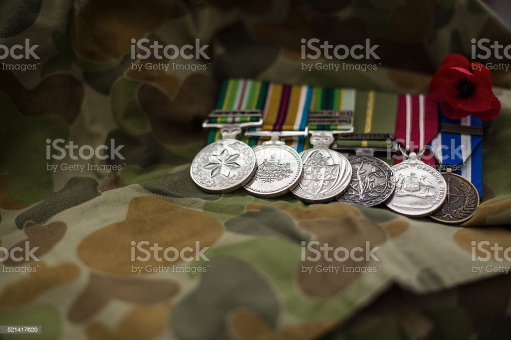 Australian Service medal with red poppy stock photo
