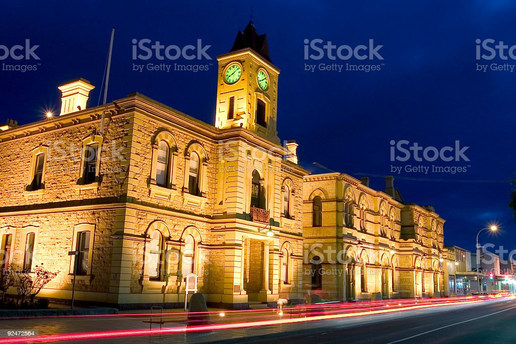 Australian Town Hall at Night royalty-free stock photo