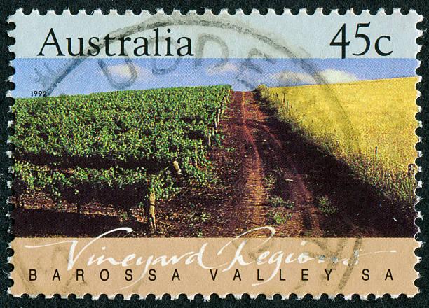 Australian Vineyard Stamp stock photo