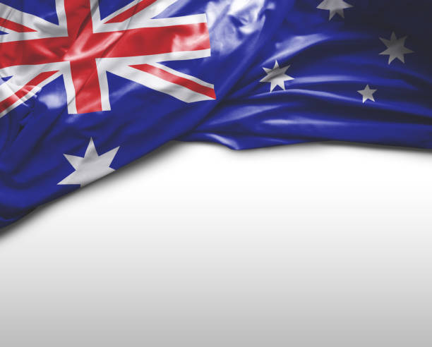 Australian waving flag stock photo