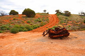 An old Ghan locomotive 'for sale' in the Australian Outback, Marree