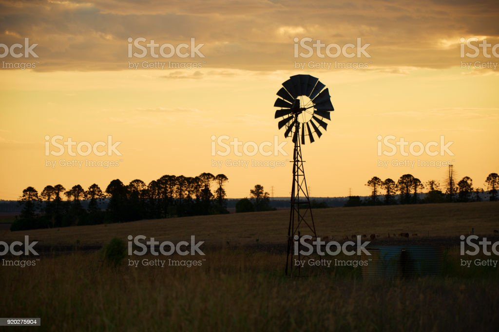 Australian windmill in the countryside stock photo