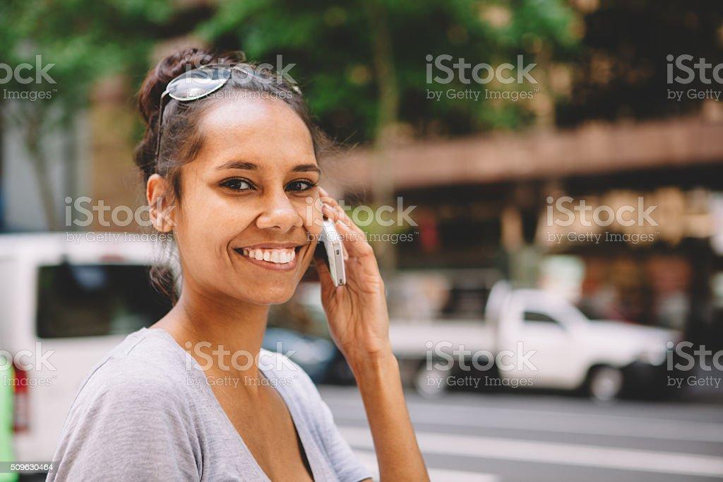 australian woman on the cellphone stock photo