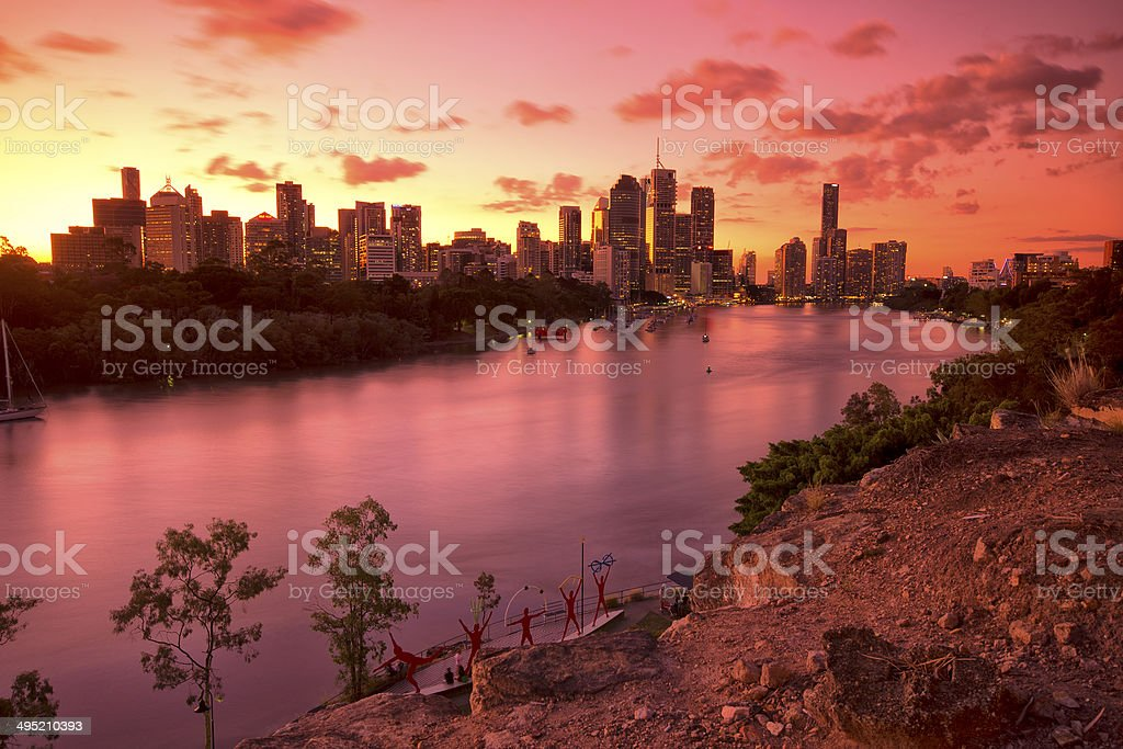 Australia's Brisbane City, view from Kangaroo Point. stock photo