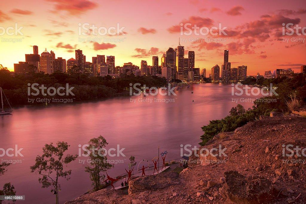 Australia's Brisbane City, view from Kangaroo Point. stock photo