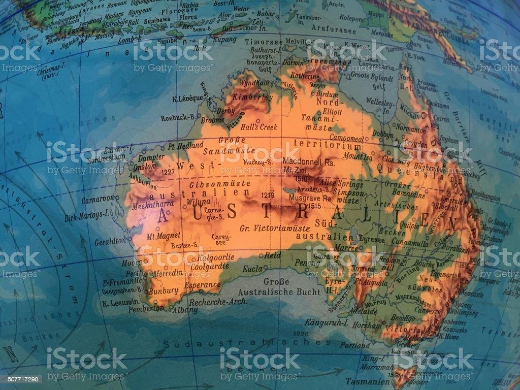 Globus Karte.Australien Karte Alter Globus Weltkarte Stock Photo