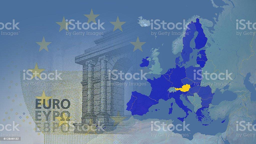 Austria (after brexit) Eurozone 2017 version. stock photo