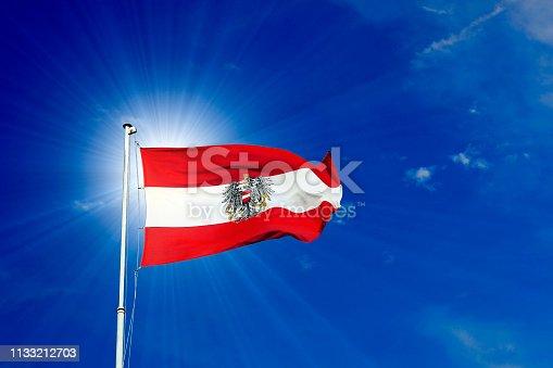 Österreich Fahne vom Hofburg am Mast mit Himmel, im Wind