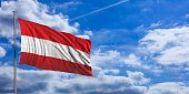 Austria flag on a blue sky background. 3d illustration