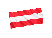 Austria flag on white background