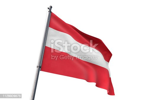 istock Austria flag waving isolated white background 1129926575