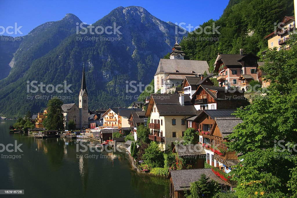 Austria, Hallstatt Village and Hallstatter See lake royalty-free stock photo